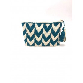 Oil blue clutch bag