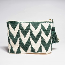 Pine green clutch bag