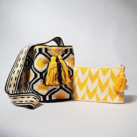 Lot de sac + pochette jaune