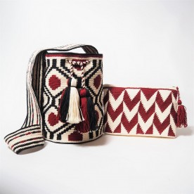 Lot sac + pochette rouge