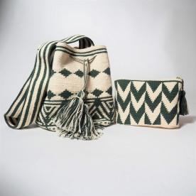 Lot sac + pochette vert
