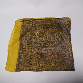 Yellow and brown silk scarf